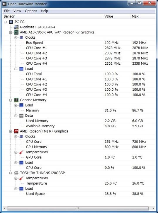 A10 7850K  13.30 cinebench 11.5 CTDP45W OCCT.jpg